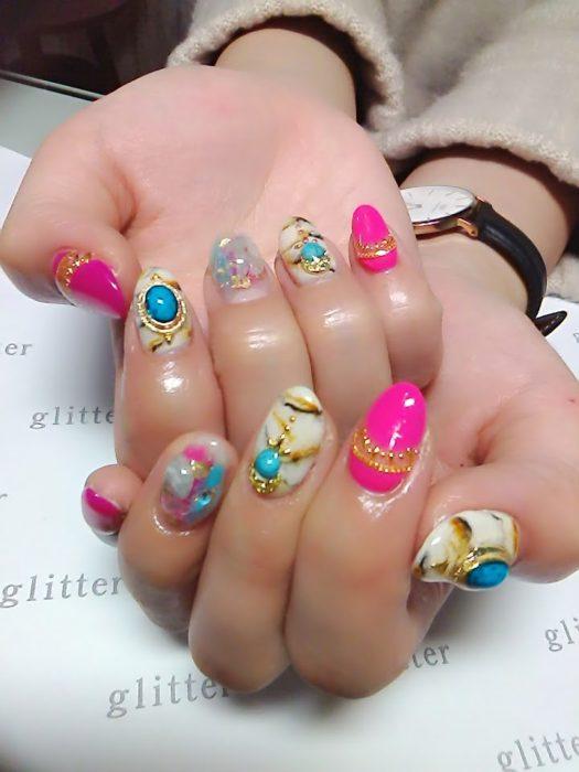 天然石×ターコイズネイル☆