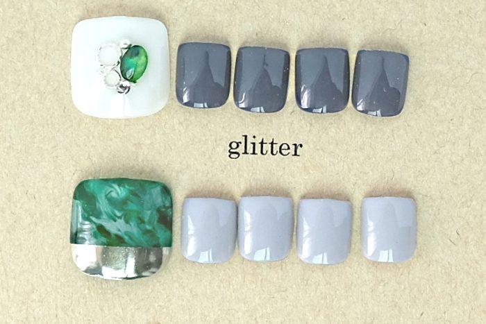ホワイト×グリーンアシメ